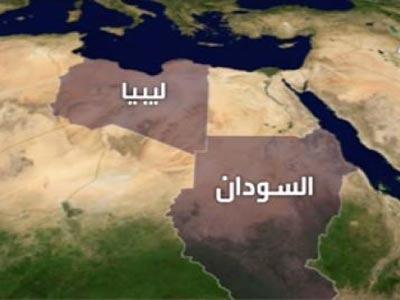 خريطة ليبيا والسودان